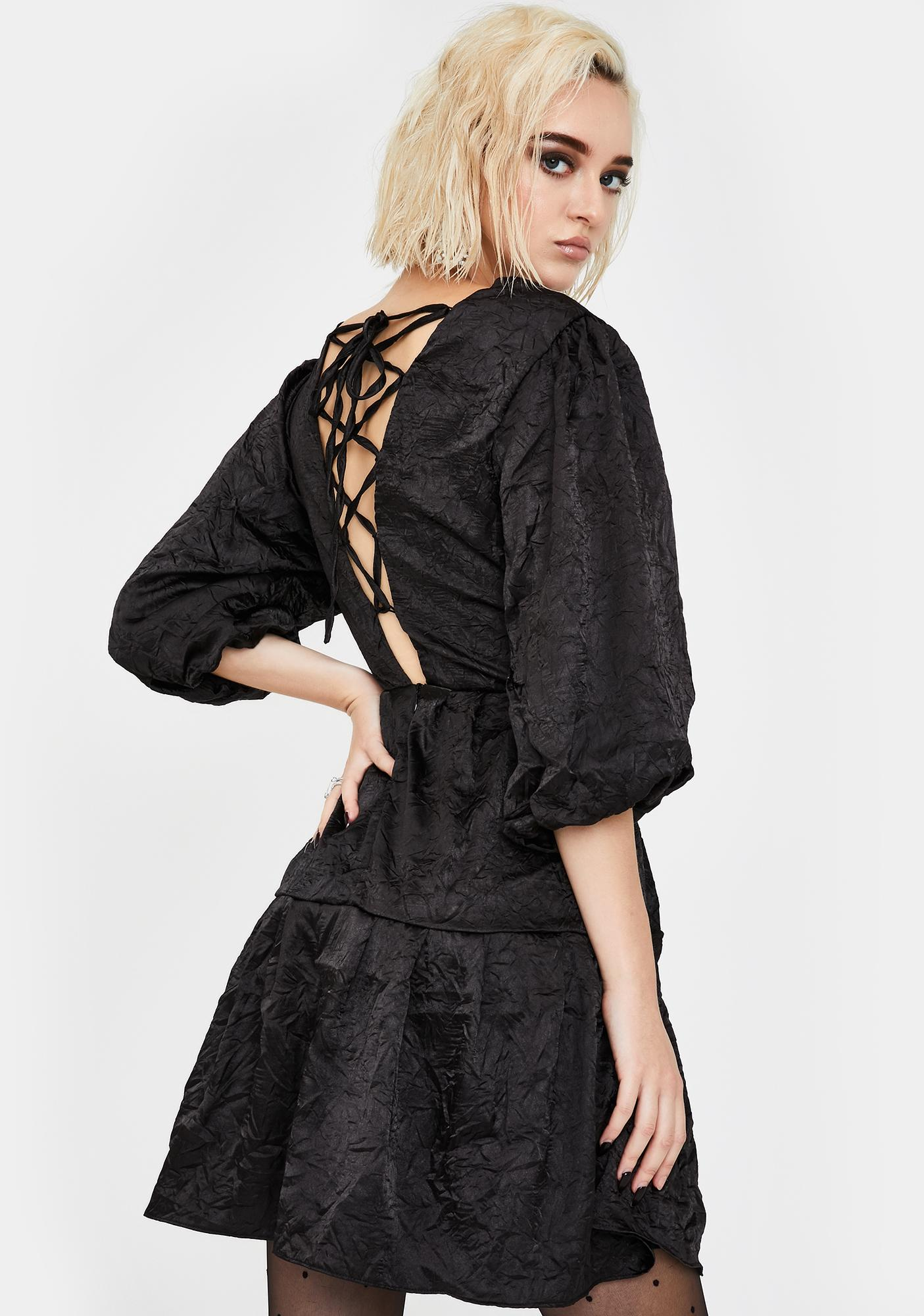 Glamorous Black Textured Lace Up Dress