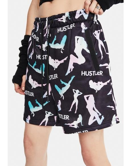 X Hustler Pattern Shorts