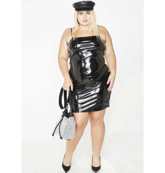 Miss Up All Nite Vinyl Mini Dress