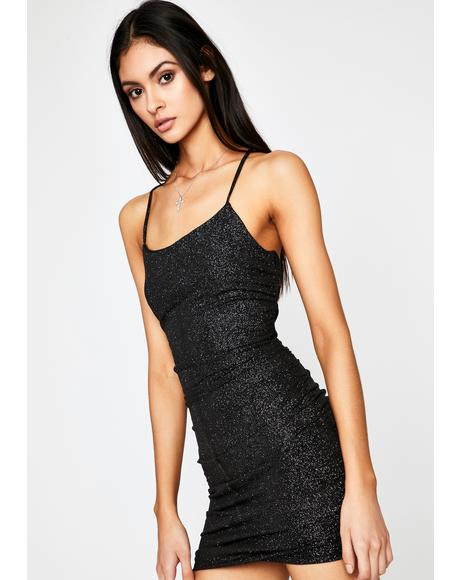 Still Waiting Glitter Mini Dress