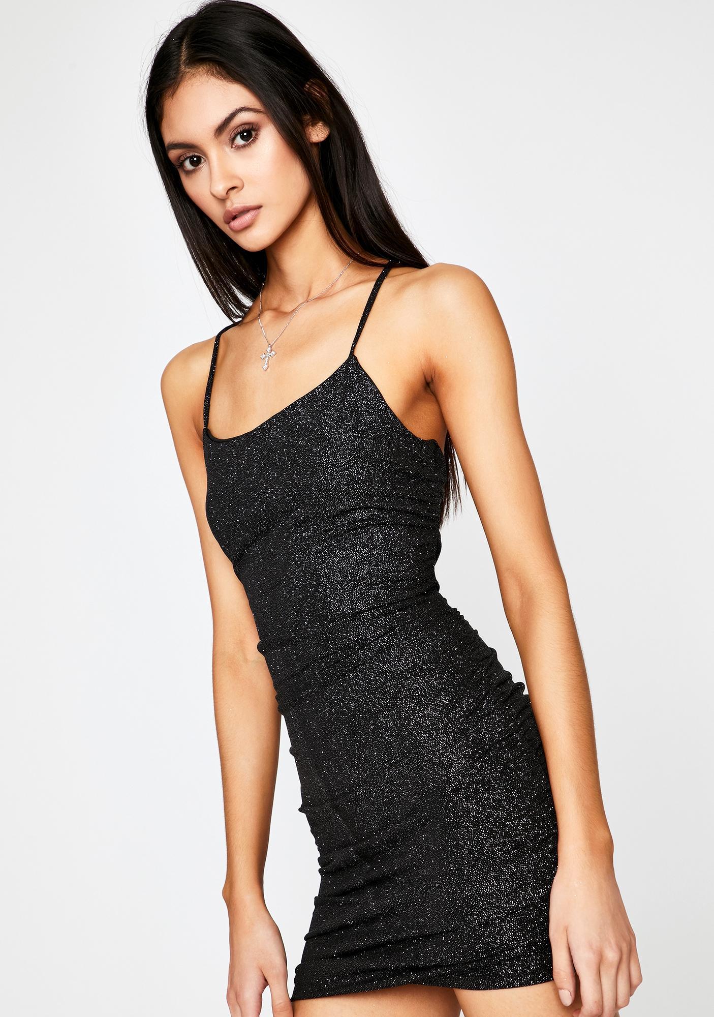 Still Waiting Glitter Mini Dress