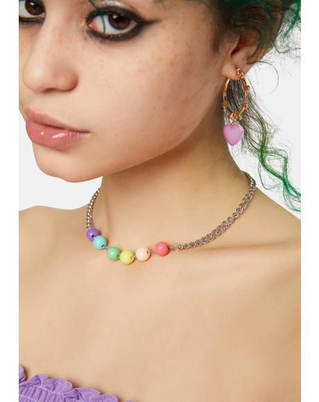 Born To Be Colorful Beaded Chain Necklace