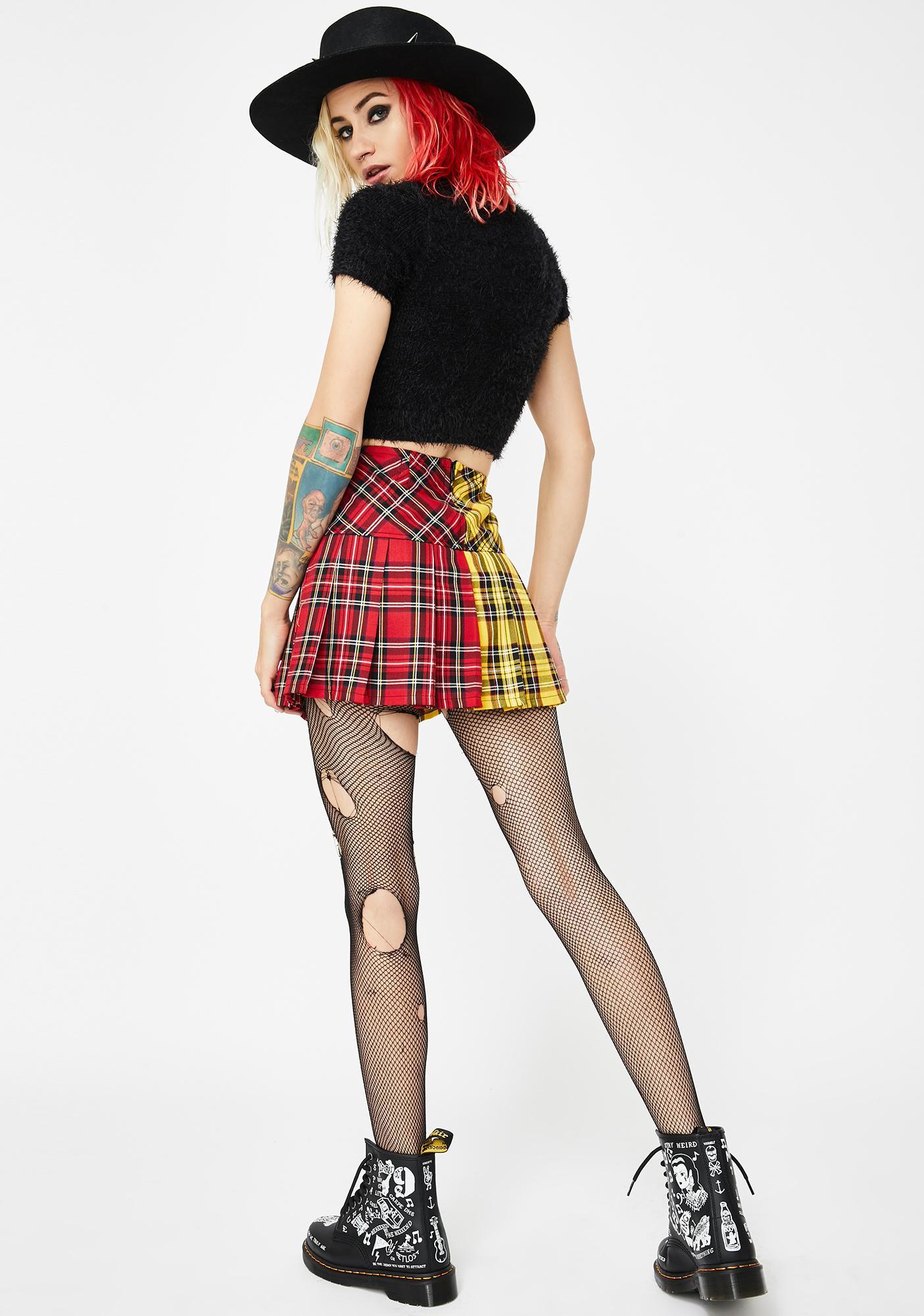 Tripp NYC Split-Plaid Pleated Skirt