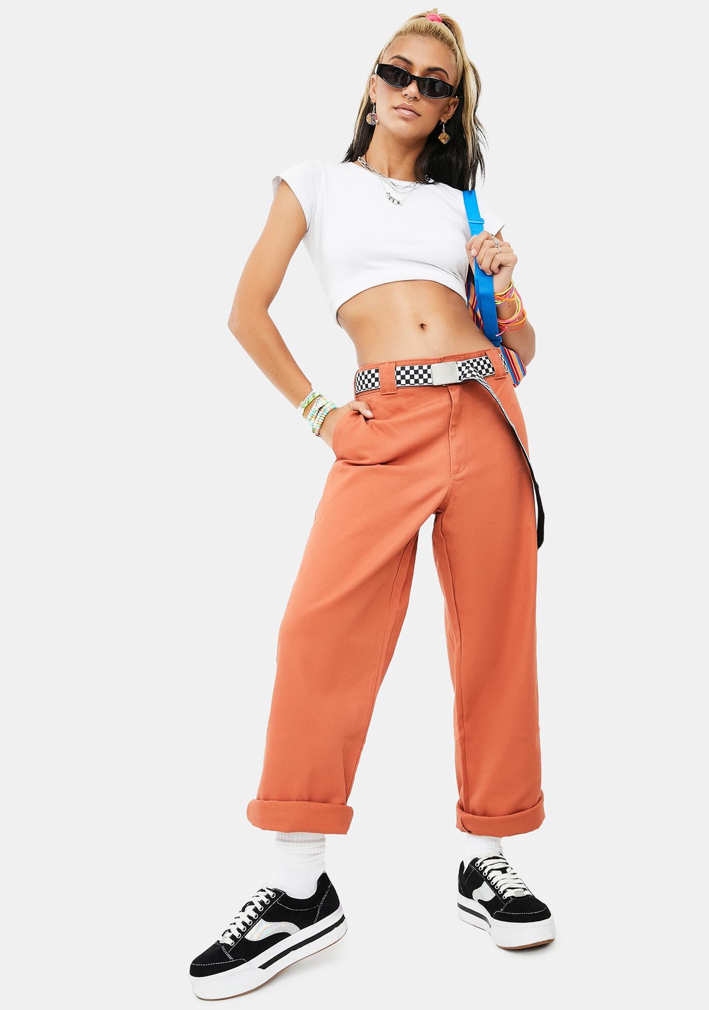 Dickies Girl Auburn Work Crop Roll Hem Pants