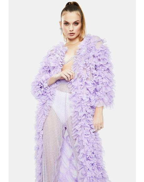 Lilac Tulle Ruffle Robe