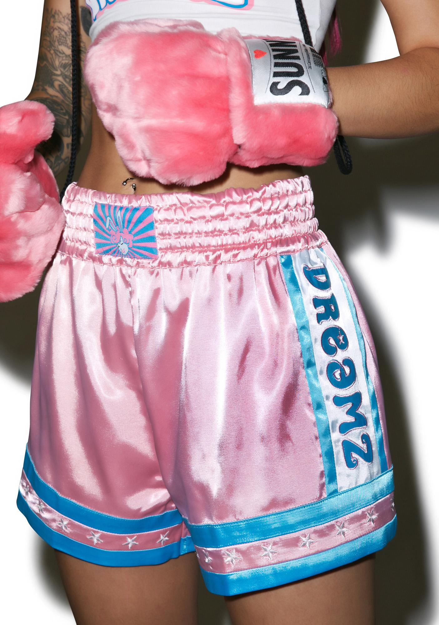 Bunny Dreamz Pastel Muay Thai Satin Shorts