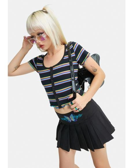 Abstract Reality Striped Button Up Tee