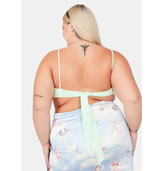 Mint She's Not Playing Games Crop Top
