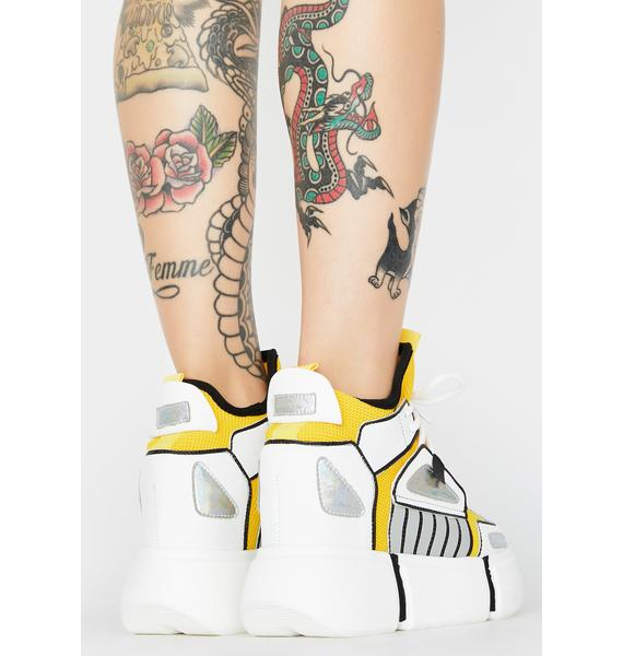 Anthony Wang White Cranberry Platform Sneakers