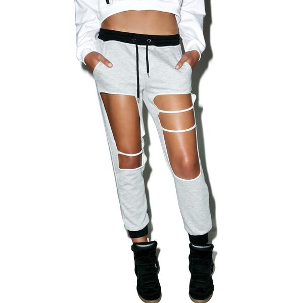 Distressed Cut-Out Joggers