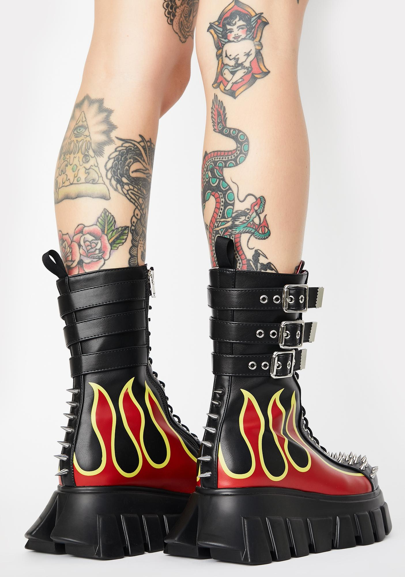 Lamoda Flame Buckle Up Tight Ankle Boots