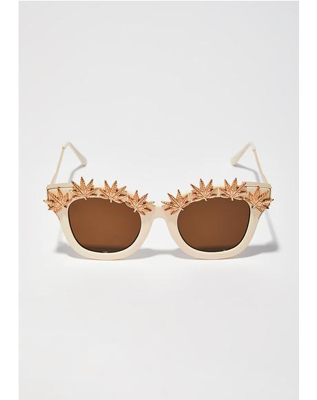 Weed Leaf Embellished Sunglasses