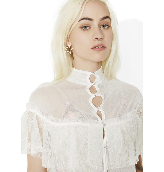 For Love & Lemons Stardust Lace Ruffle Dress