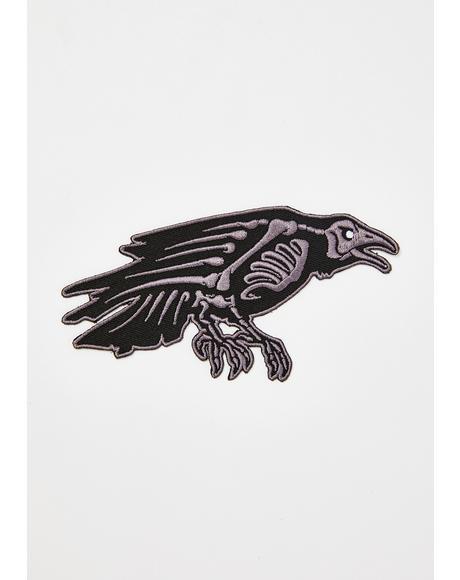Skelli Bones Raven Patch
