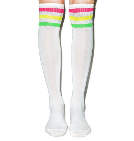 Turn Neon Knee High Socks