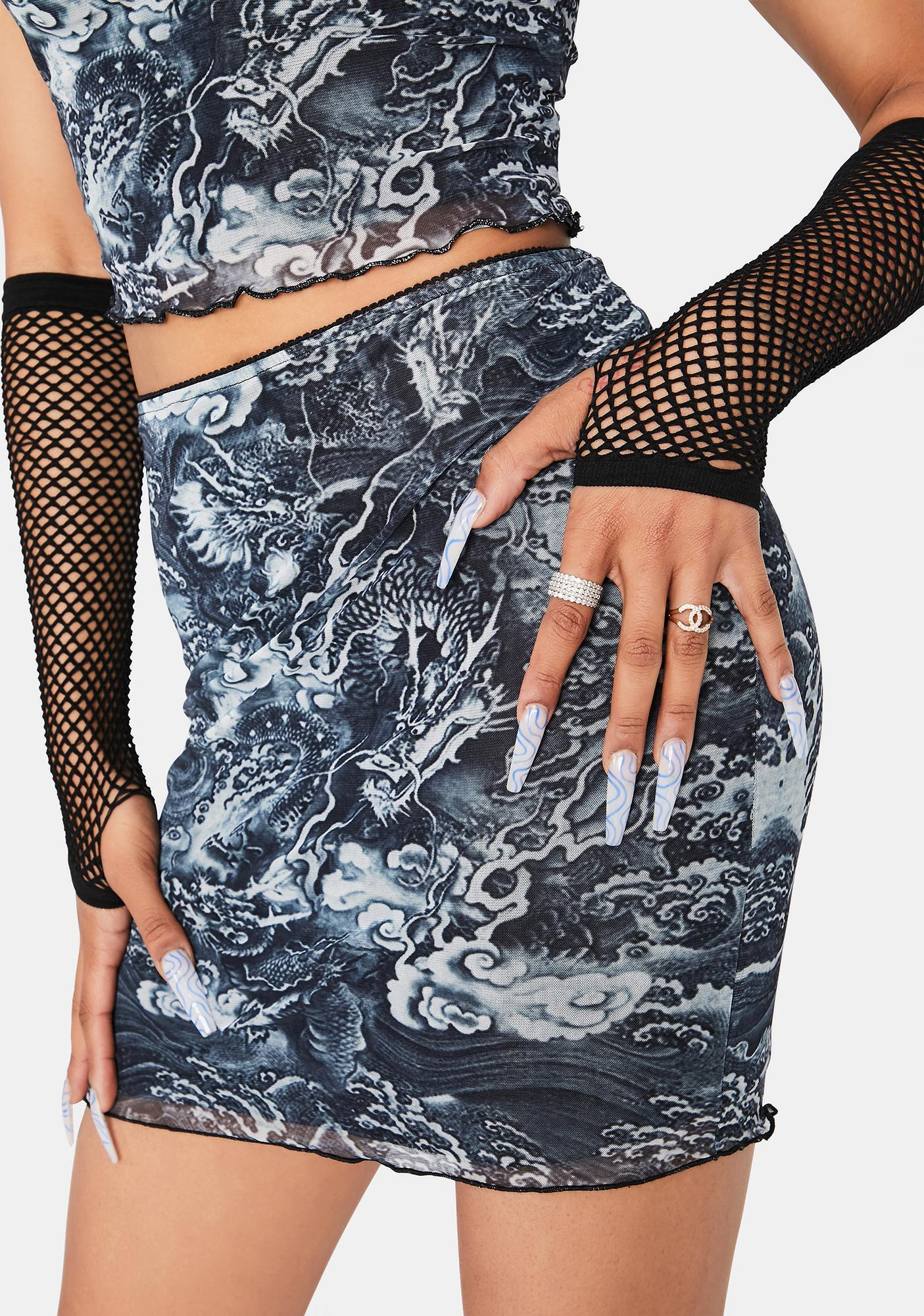 Fierce Dragon Mesh Mini Skirt