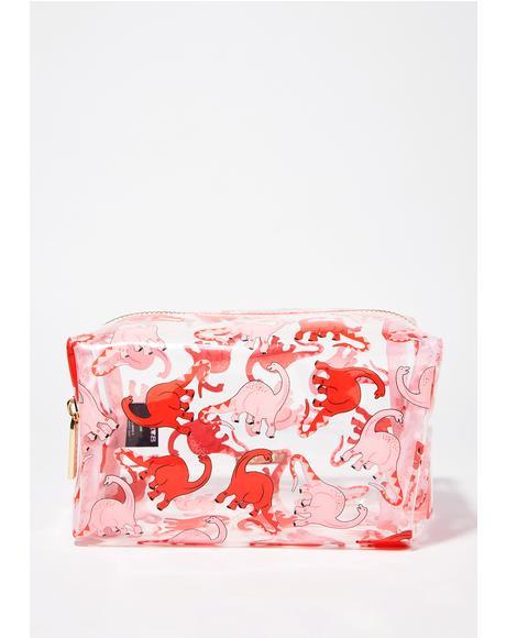 Pink Dino Makeup Bag
