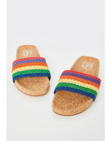 Rainbow Crochet Slides