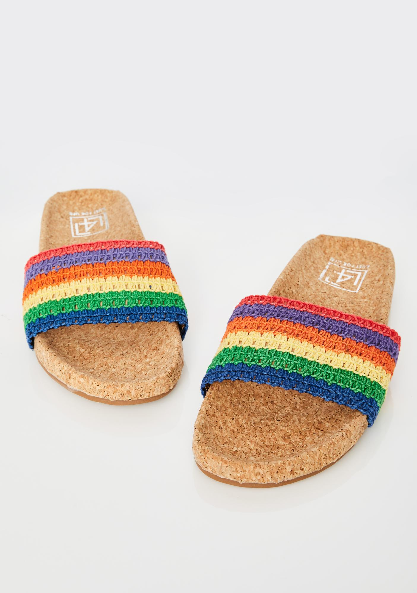 Lust For Life Rainbow Crochet Slides