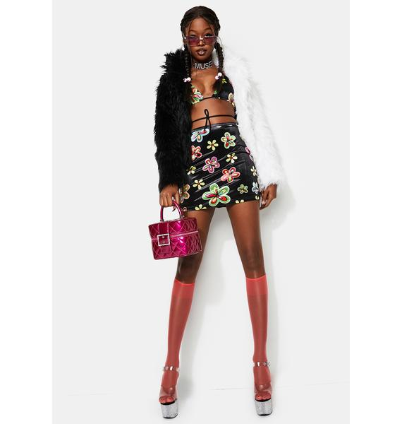 Treasure The Funk Velour Daisy Mini Skirt