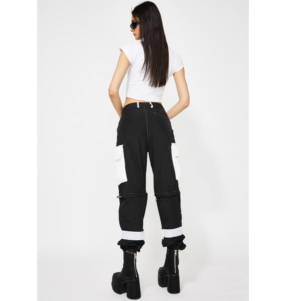 Jaded London Zip Off Cargo Trousers With Neon Stitching