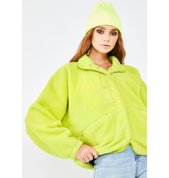 Free People Lime Hit The Slopes Fleece Jacket