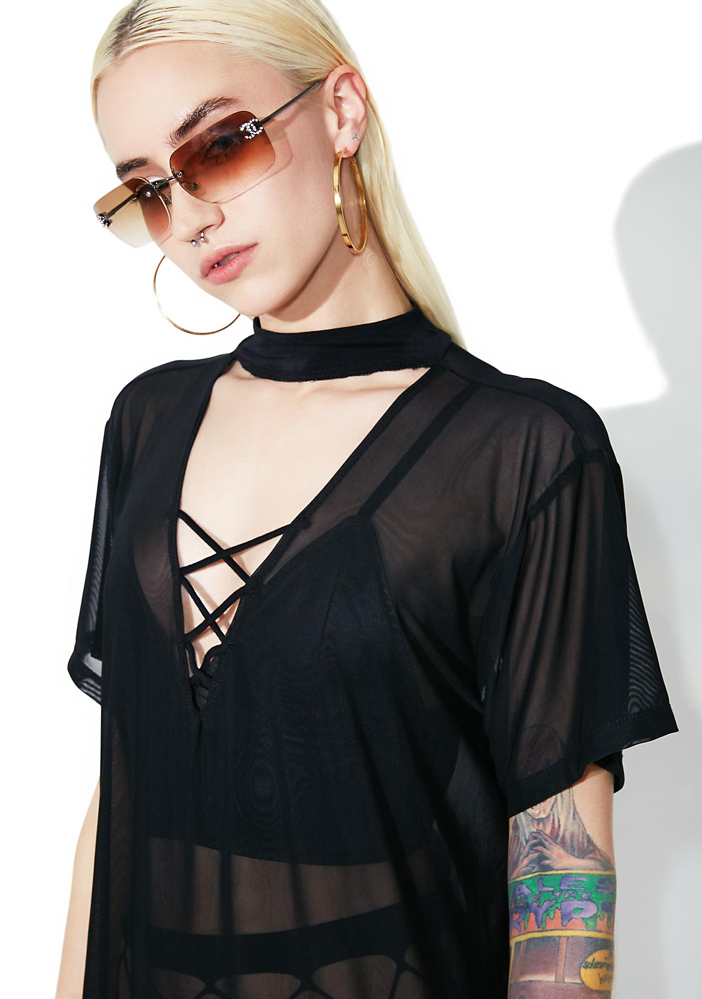 Don't Try Me Sheer Choker Tee