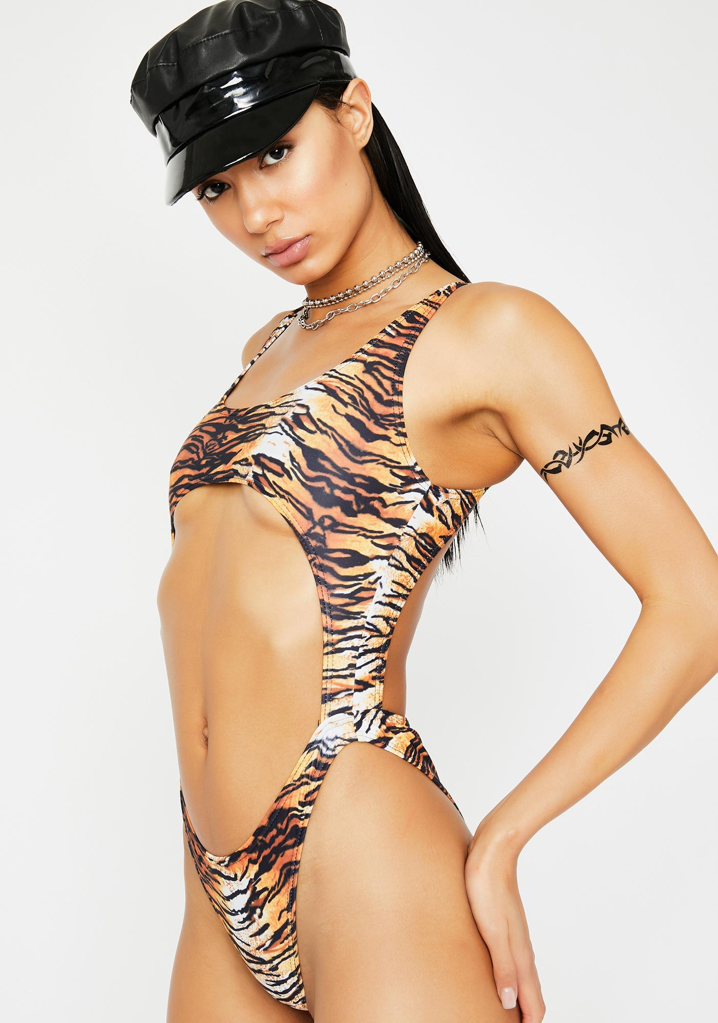 Current Mood Freaky Kitten One Piece Swimsuit