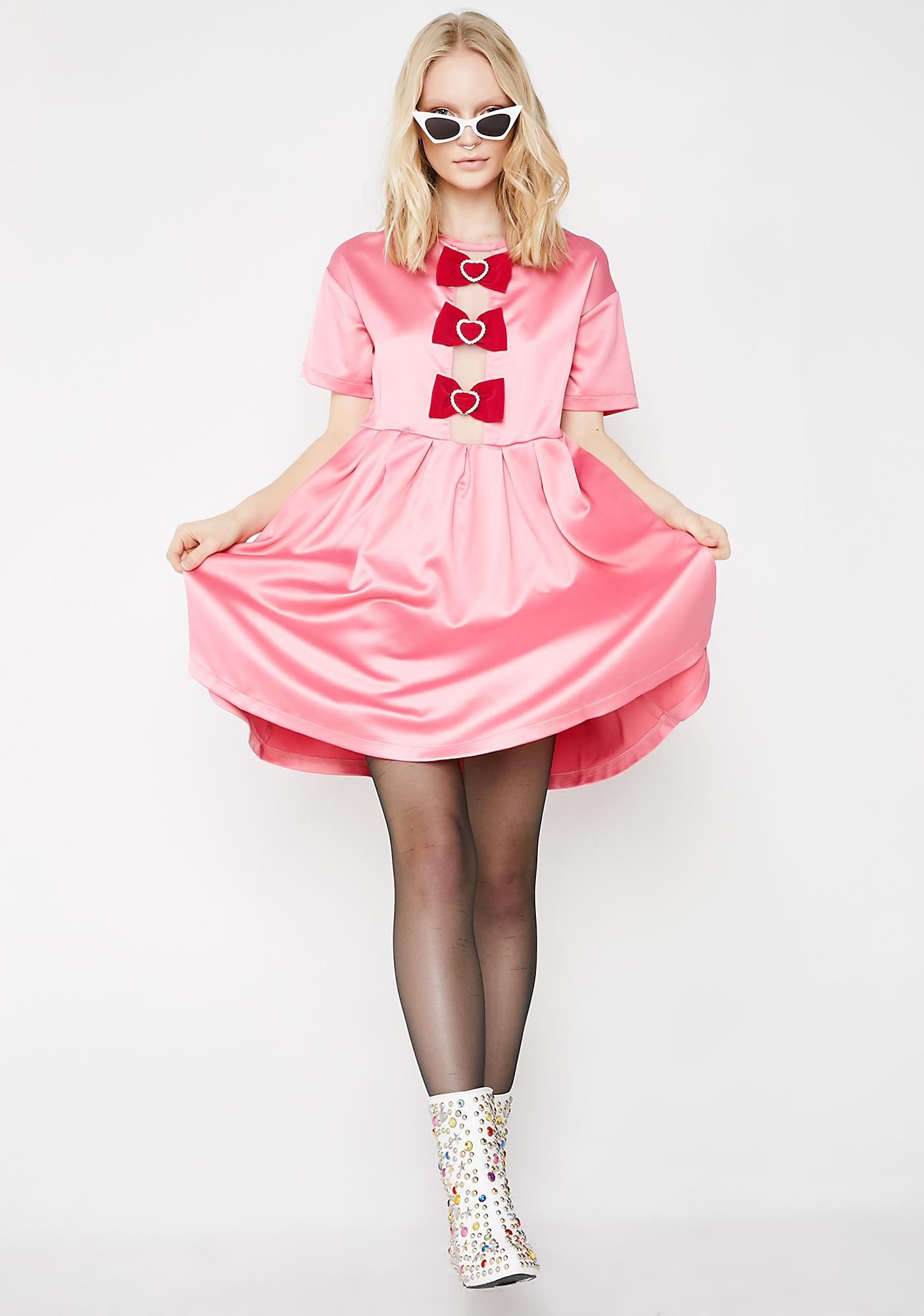 Lazy Oaf Sparkle Heart Bow Smock Dress