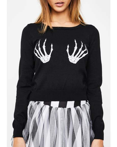 Skeleton Hands Fitted Pullover Sweater