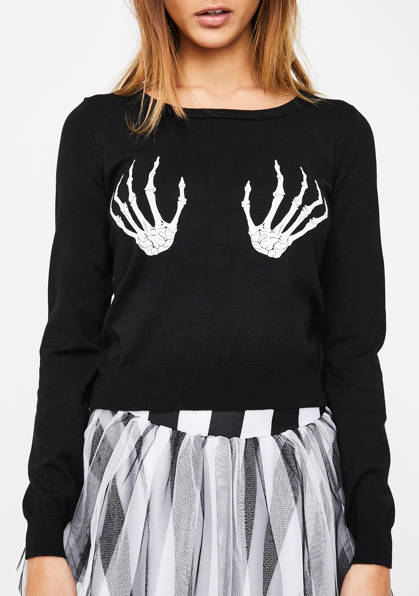 Too Fast Skeleton Hands Fitted Pullover Sweater