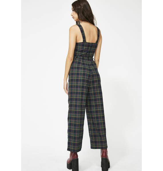 Don't Mess With Plaid Jumpsuit
