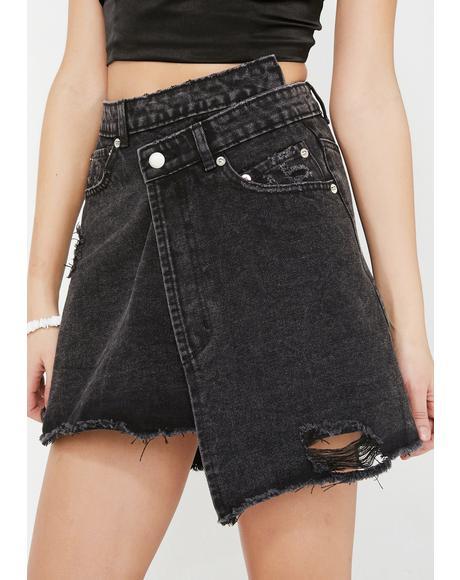 Wicked Wrap It Up Denim Skirt