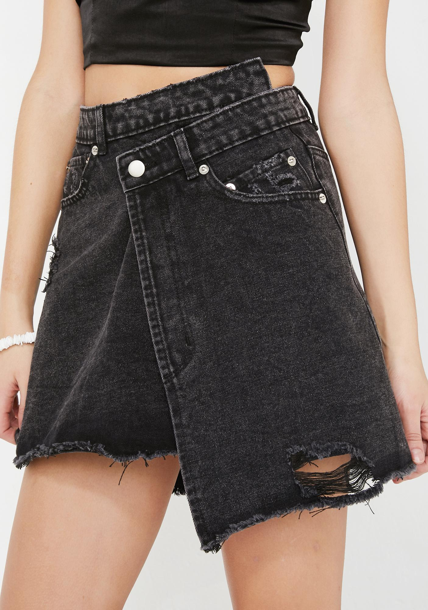 Wicked Wrap It Up Denim Skirt