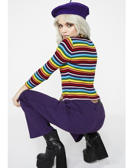 Rainbow Rib Scoop Neck Top