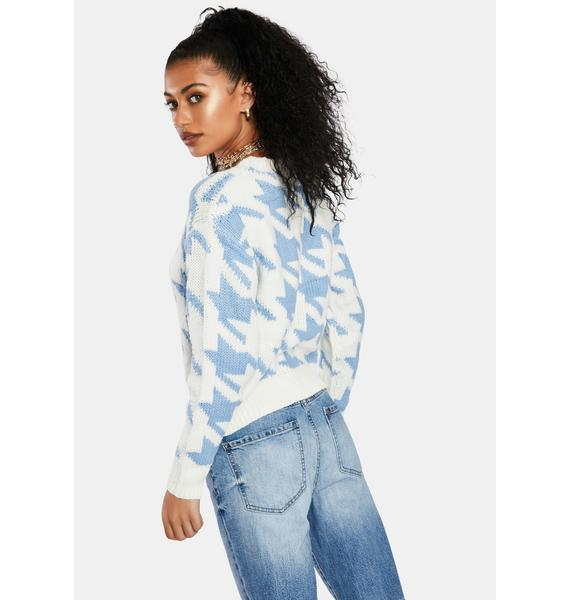 Periwinkle Chic Twist Houndstooth Sweater