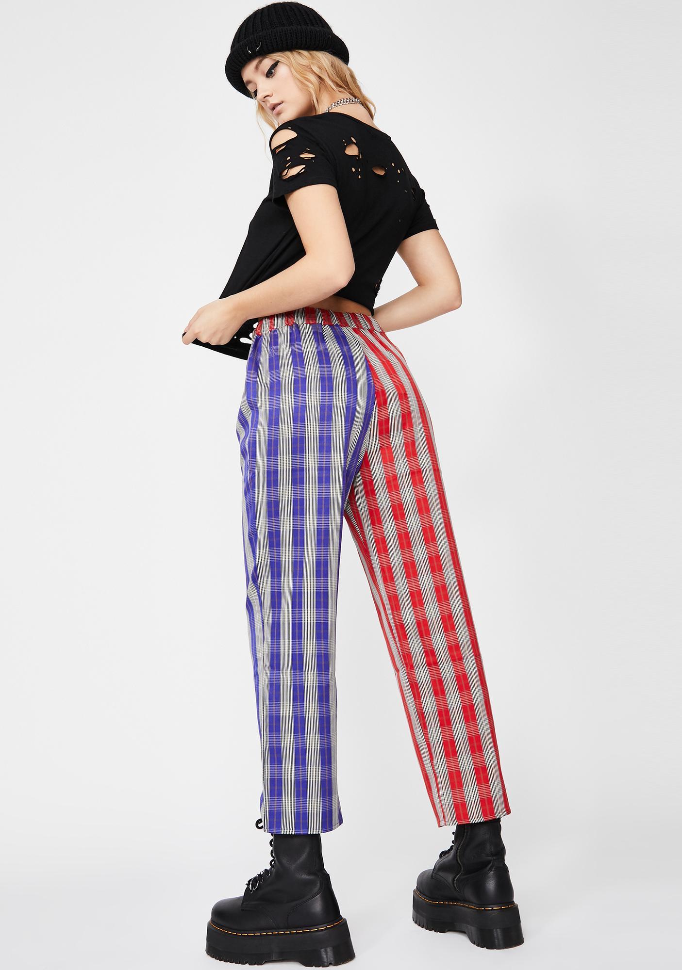 Side To Side Plaid Pants