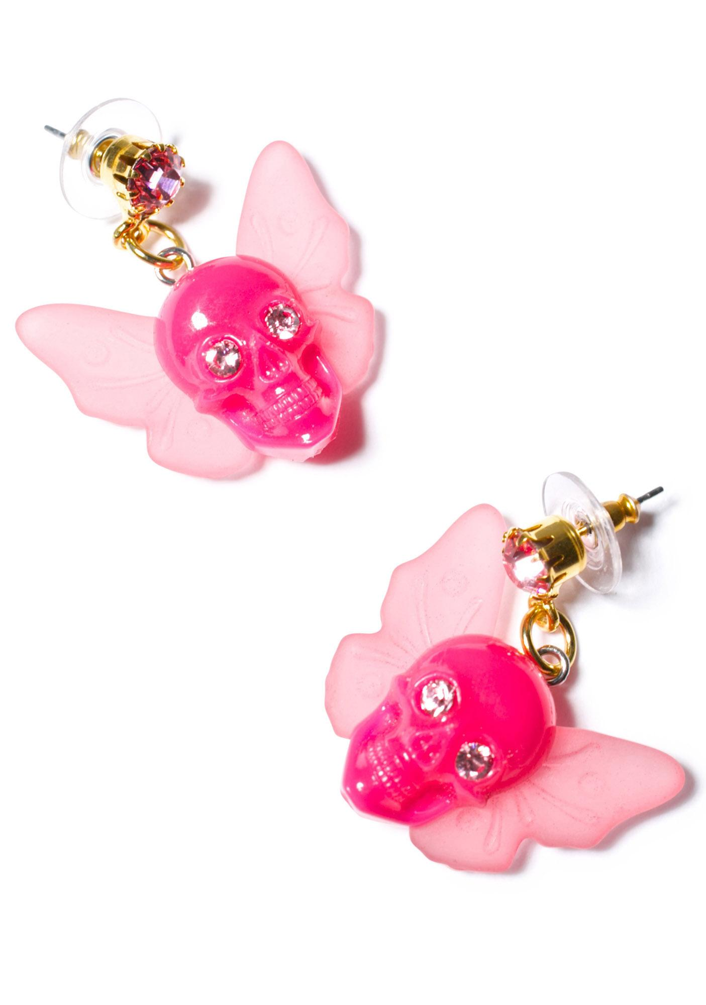 Tarina Tarantino Winged Skull Earrings