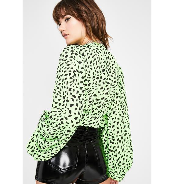 Spotted Bad Bish Blouse Top