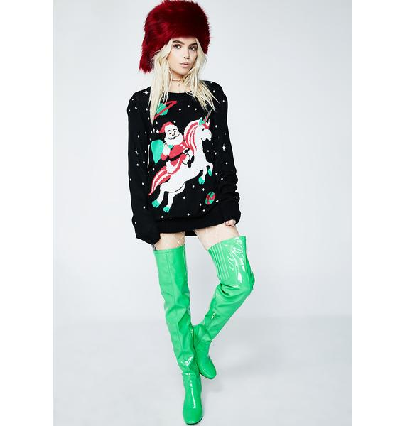 Tipsy Elves Santa Unicorn Sweater