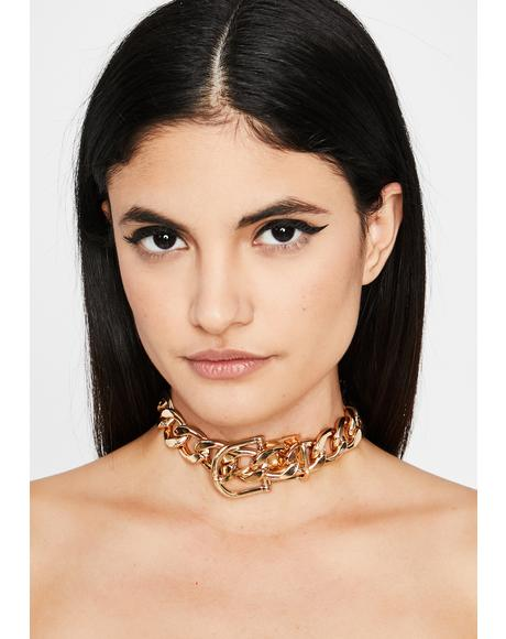 Chained N' Bound Buckle Choker