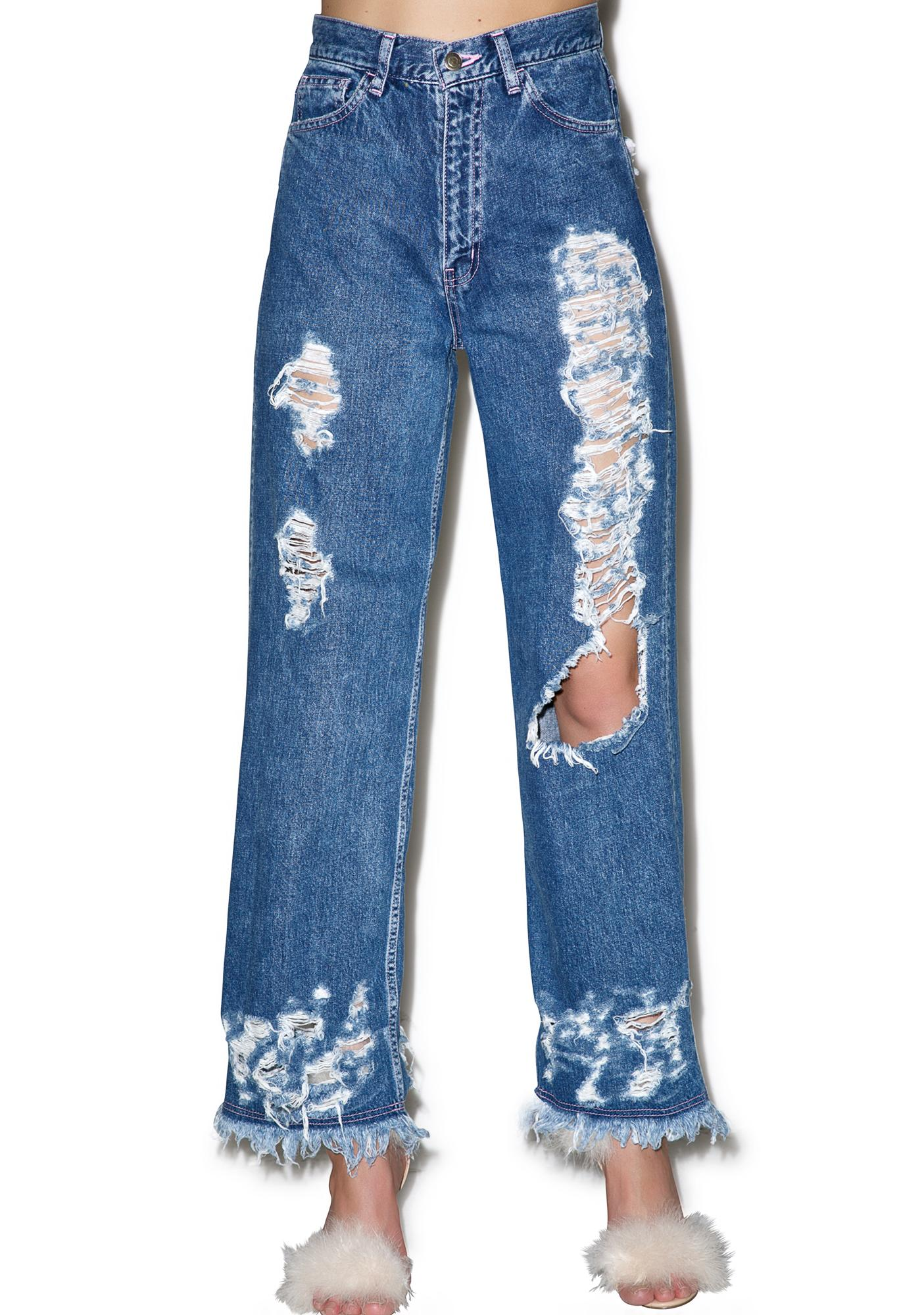 Little Sunny Bite Damaged Denim Jeans