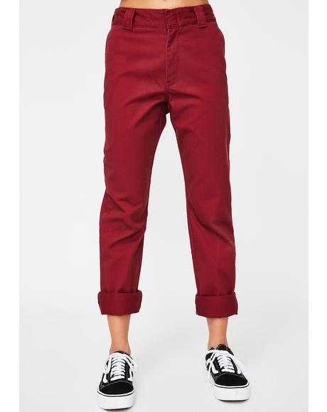 Burgundy Original Twill Worker Pants