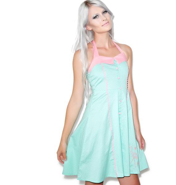 Sourpuss Clothing Peggy Pink Flamingo Dress