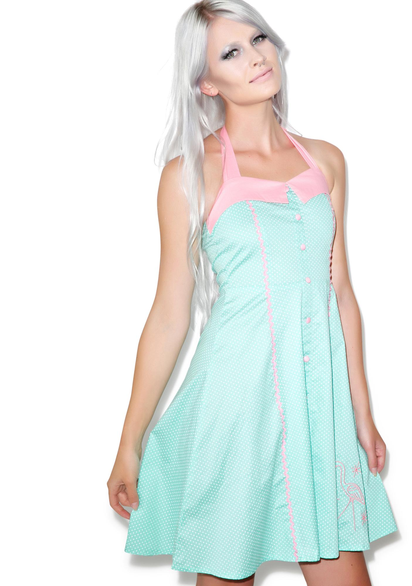 Sourpuss Clothing Peggy Pink Flamingo Dress | Dolls Kill