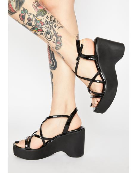 Black Patent Gigi Wedge Heels