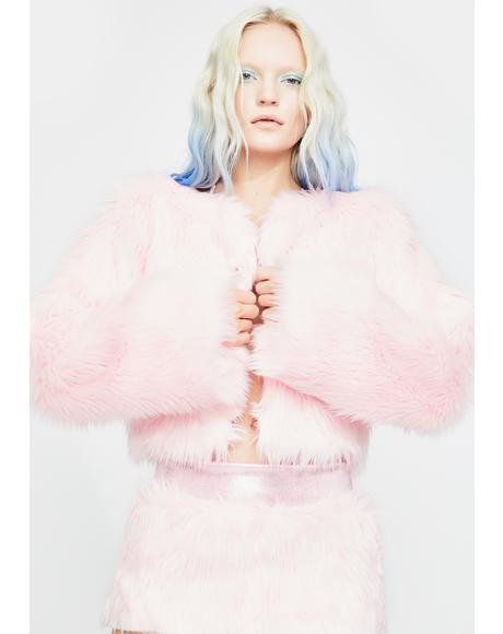 Butterfly Pink Faux Fur Jacket