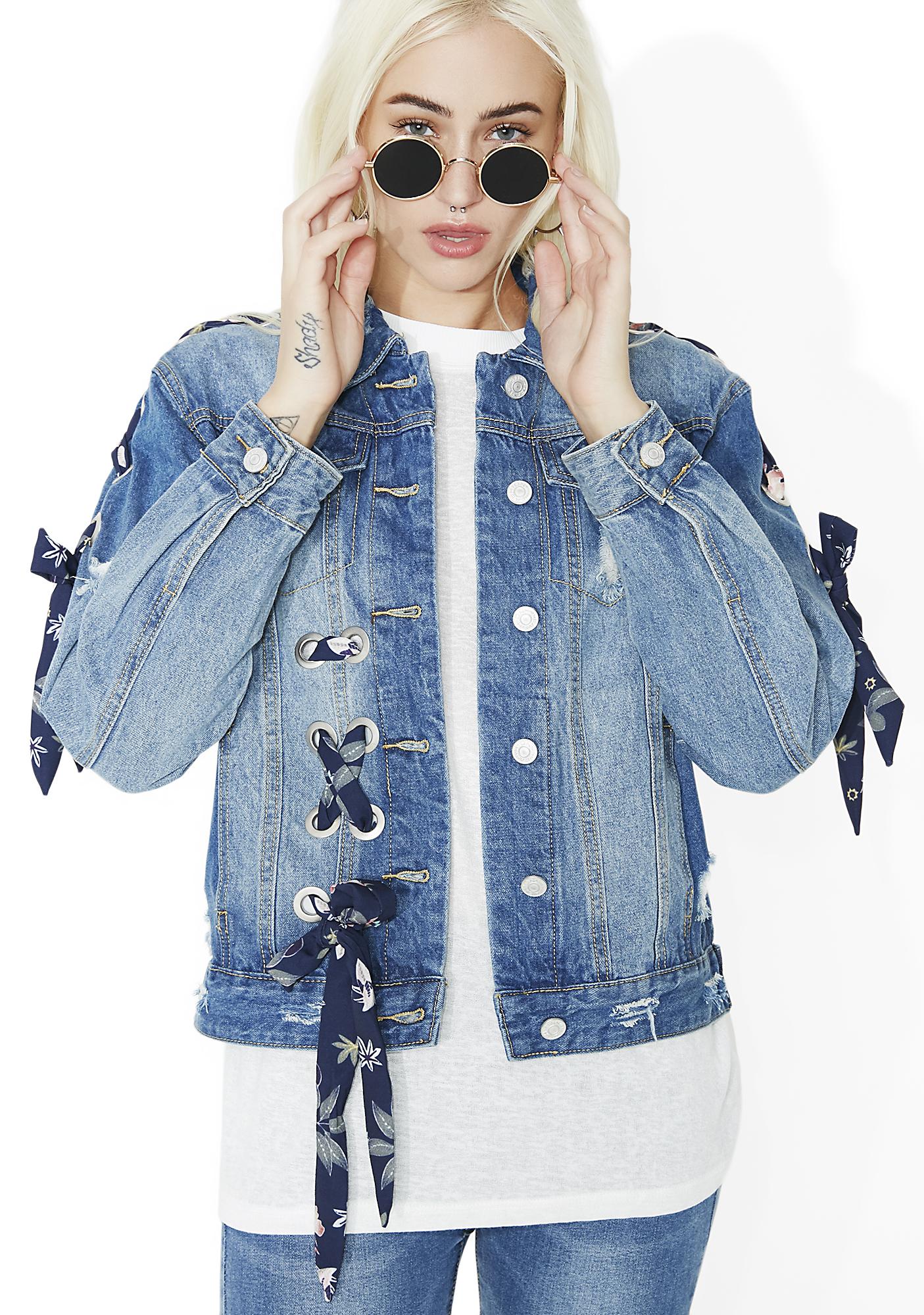 Blue Floral Lace-Up Distressed Denim Jacket