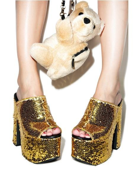 Gold Sequin Dream Platforms