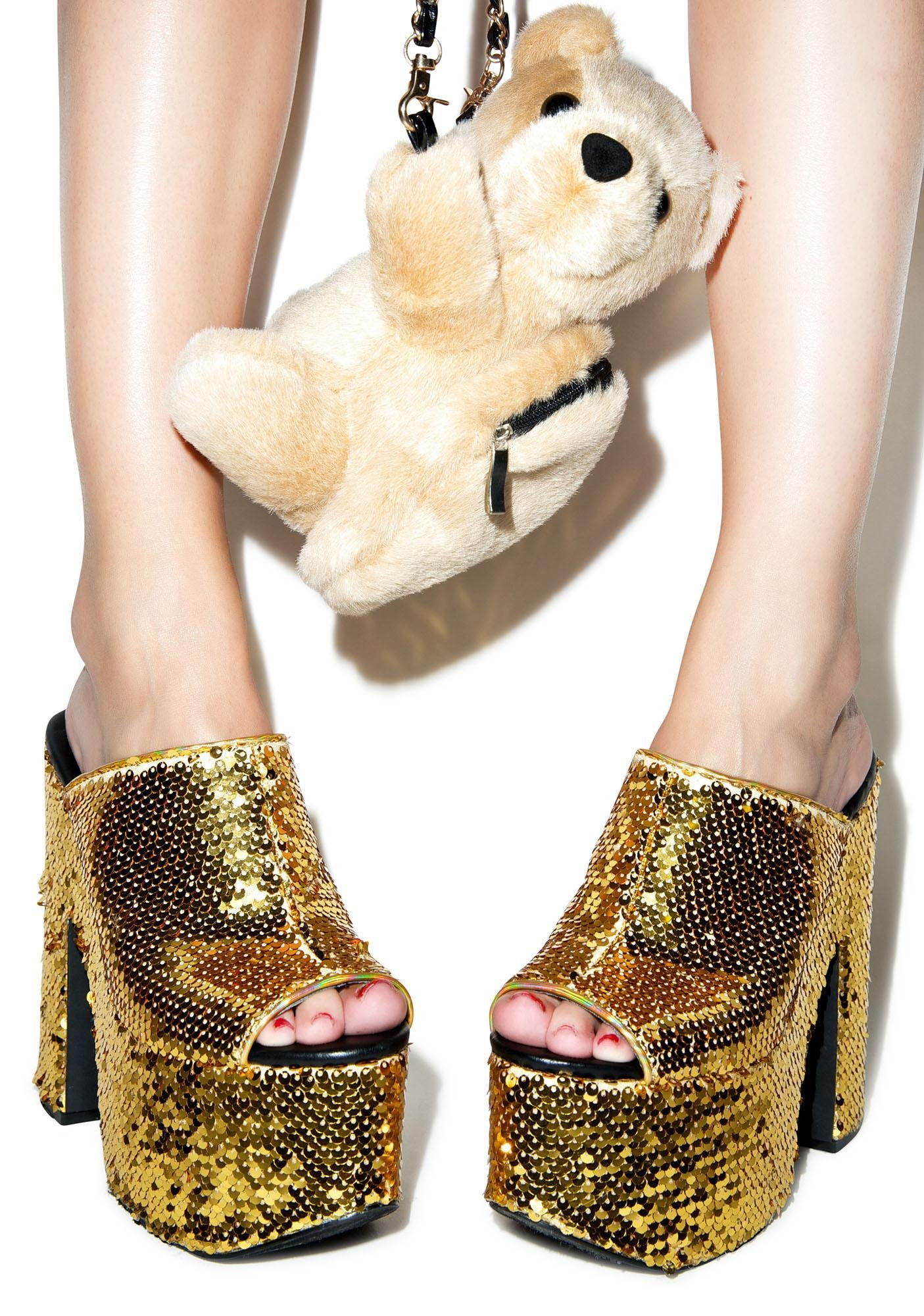 Y.R.U. Gold Sequin Dream Platforms